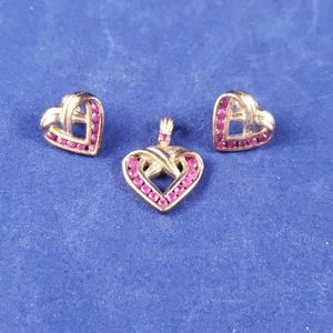 925 silver gold plated pendant and earrings